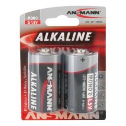 Blister de 2 piles LR20 D ANSMANN ALKALINE RED LINE