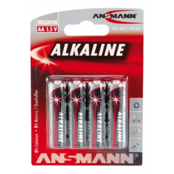 Blister de 4 piles LR06 AA ANSMANN ALKALINE RED LINE