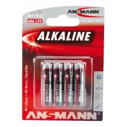 Blister de 4 Piles LR03 AAA ANSMANN ALKALINE RED LINE